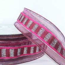 38mm Trax Cerise Pink Ribbon with Sparkly Stripes - 50m