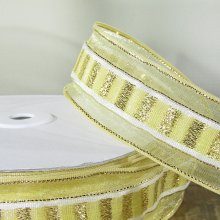 38mm Trax Pale Gold Ribbon with Sparkly Stripe - 50m