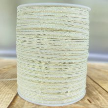 3mm Opal Sparkle Ribbon with a Gold Edge - 90m