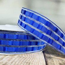 40mm Art Deco Check Ribbon Royal Blue - Wired Edge - 50m