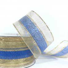 44mm Metallic Gold Ribbon with Electric Blue Stripe