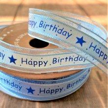 15mm Satin Ribbon Happy Birthday Blue 50m