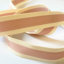 15mm Grosgrain Ribbon Cream / salmon pink 90m