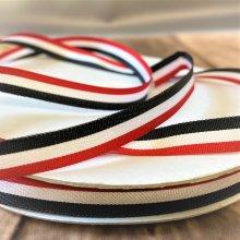 9mm red white black stripe ribbon 50m Bargain