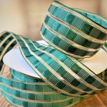 40mm Art Deco Check Ribbon Green / gold - Wired Edge - 50m
