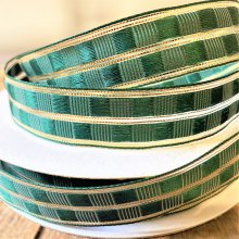 25mm art deco Christmas green / gold wired 50m