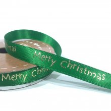 10mm Satin Ribbon Bright Merry Christmas Green