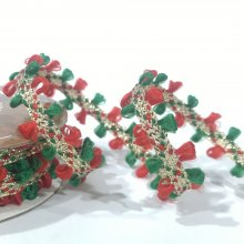 10mm Gold Ribbon with Red and Green Thread Edging