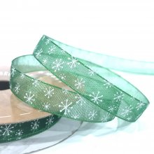 10mm Organza Ribbon Green with White Snowflakes