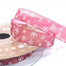 10mm Organza Ribbon Red with White Snowflakes