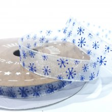 10mm Organza Ribbon White with Blue Snowflakes