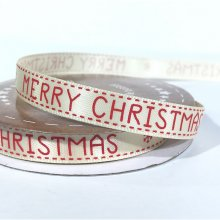10mm Satin Ribbon Ivory Merry Christmas Red