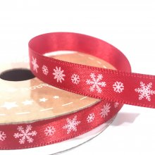10mm Satin Ribbon Red with White Snowflakes