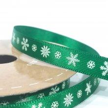 10mm Satin Ribbon Green with White Snowflakes