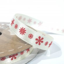 10mm Satin Ribbon Ivory with Red Snowflakes