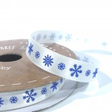 10mm Satin Ribbon White with Blue Snowflakes