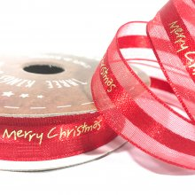 15mm Merry Christmas Organza Edged Satin Ribbon Red - 22m