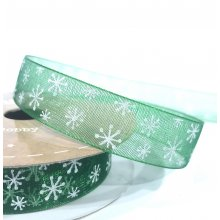 15mm Organza Ribbon Green with White Snowflakes