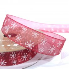 15mm Organza Ribbon Red with White Snowflakes