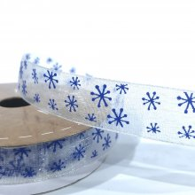 15mm Organza Ribbon White with Blue Snowflakes