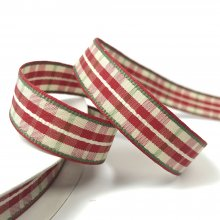 16mm Woven Check Ribbon Red