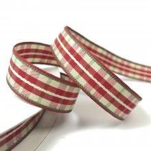 16mm Plaid Check Ribbon Red