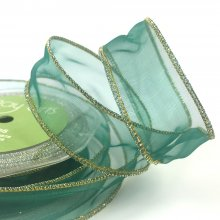 25mm Organza Christmas Green Ribbon - Wired Edge
