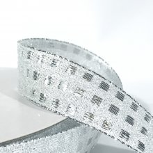 25mm Wide Check Ribbon Silver