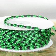3mm Woven Braided Thread Ribbon Green