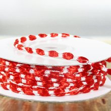 3mm Woven Braided Thread Ribbon Red