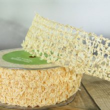 40mm Spiders Web Ribbon Mustard - Wired Edge