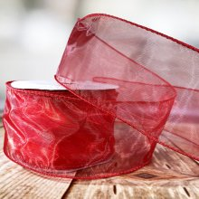 63mm Organza Red - Wired Edge - 9m