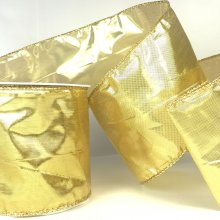 75mm Sparkle Ribbon Gold - wired edge
