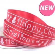 15mm Satin Ribbon Red with Happy Christmas