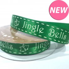 15mm Satin Ribbon Green with Jingle Bells