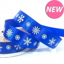 15mm Satin Ribbon Blue with White Snowflakes