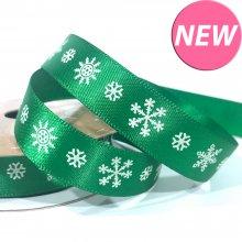 15mm Satin Ribbon Green with White Snowflakes
