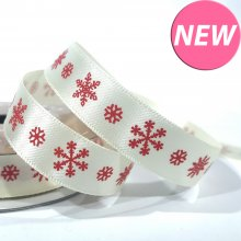 15mm Satin Ribbon Ivory with Red Snowflakes