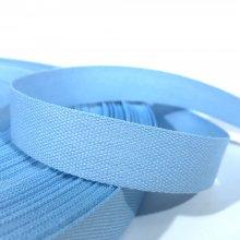 15mm Cotton Tape Ribbon Light Blue
