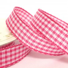 10mm Gingham Ribbon Fuchsia Pink