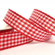 10mm Gingham Ribbon Classic Red