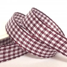 10mm Gingham Ribbon Wine