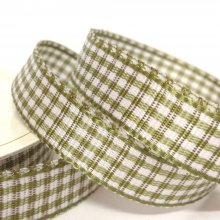10mm Gingham Ribbon Moss