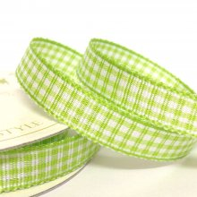 10mm Gingham Ribbon Lime Zest