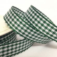 10mm Gingham Ribbon Bottle Green