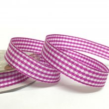 10mm Gingham Ribbon Magenta