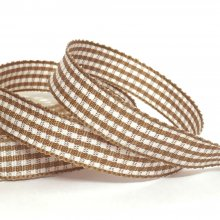 10mm Gingham Ribbon Fudge