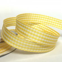 10mm Gingham Ribbon Yellow