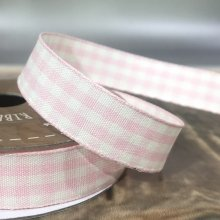 15mm Cottage Check Pink / Ivory Ribbon