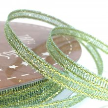 3mm Golden Accents Ribbon Sparkly Green